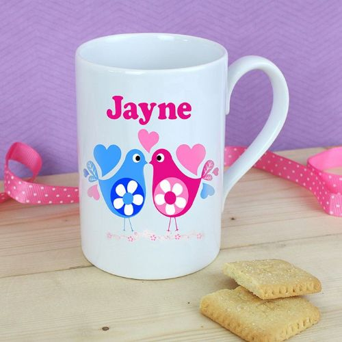 Personalised Love Heart Birds Windsor Mug